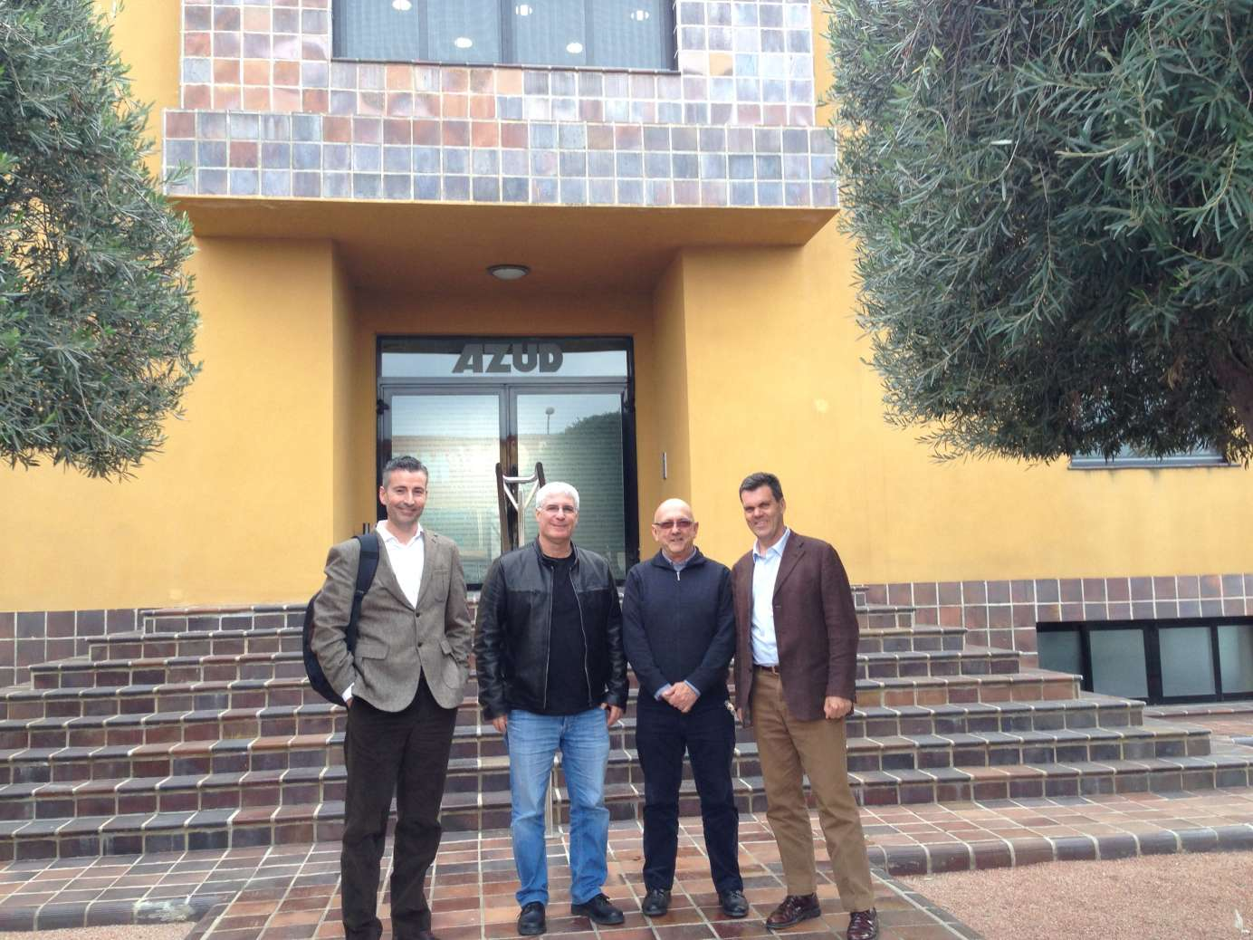 Aquacell and Azud management celebrate the announcement at  Azud HQ in Spain